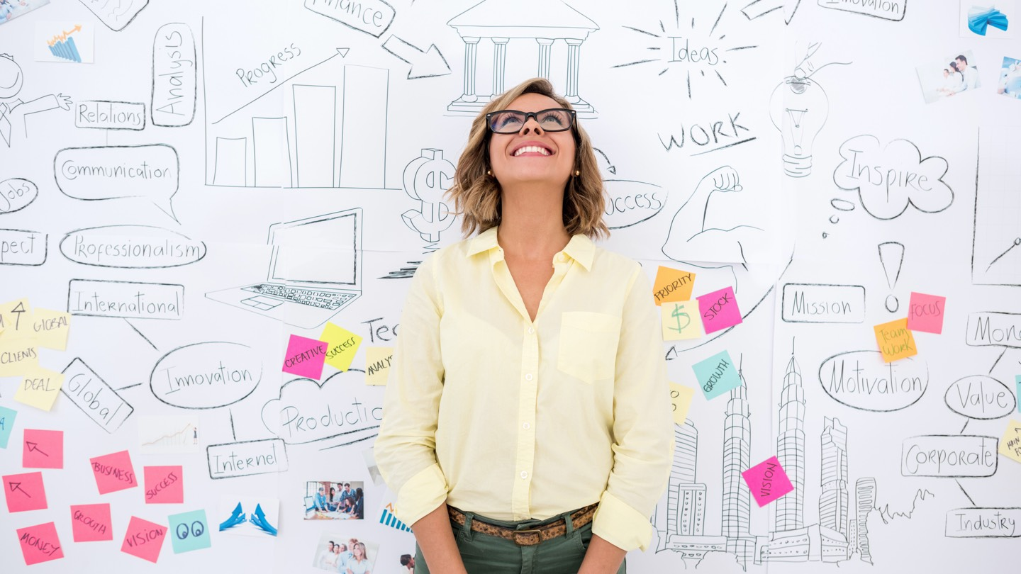 Woman wearing yellow shirt with glasses on, standing in front of whiteboard with lots of creative finance ideas.