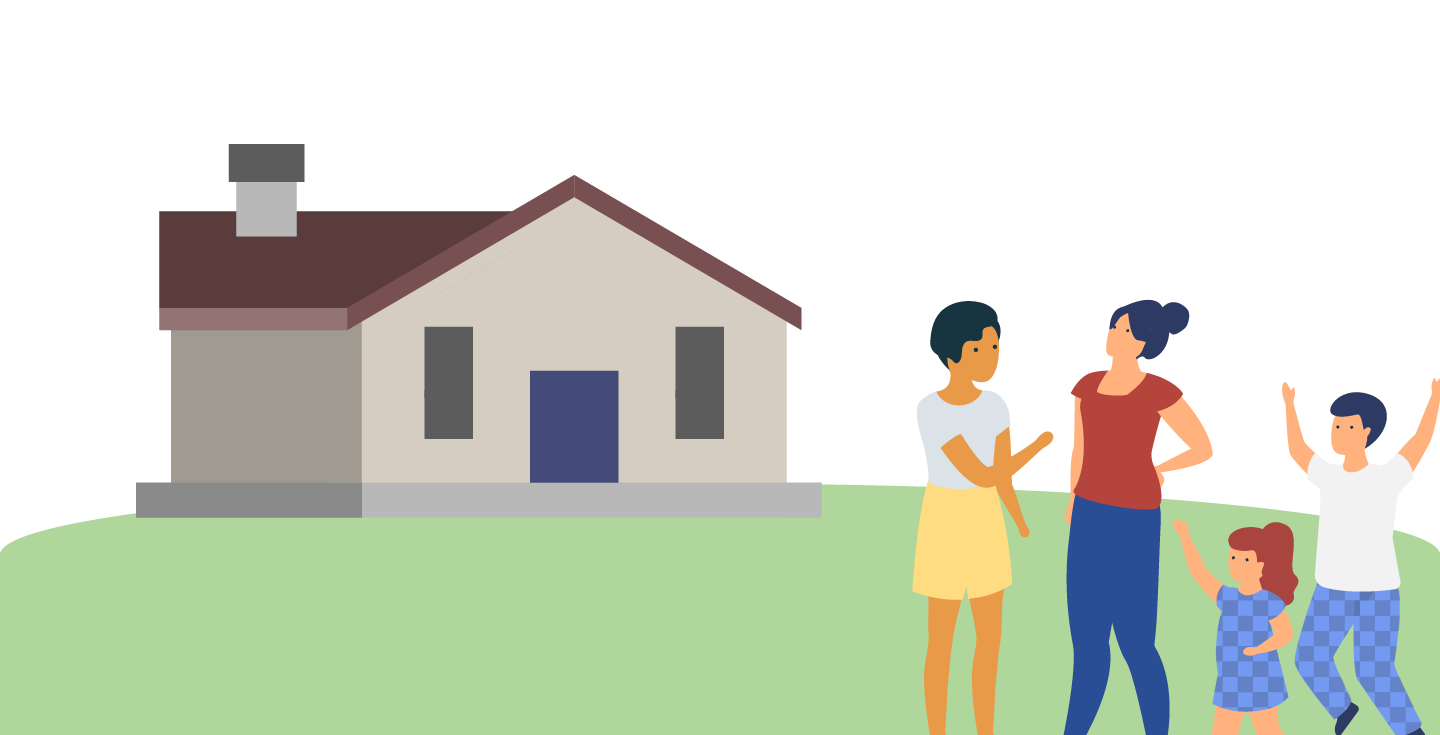 Illustration of a couple with children, buying a home.